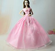 Недорогие -Платья Платья Для Кукла Барби Розовый Платья Для Девичий игрушки куклы
