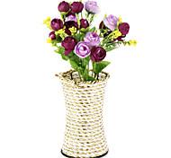 1branch шелковые / пластиковые розы искусственные цветы с украшением вазы