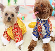 Cat Dog Coat Jumpsuit Dog Clothes Cosplay New Year's Color Block Yellow Blue Costume For Pets