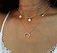 Women's Choker Necklaces Pendant Necklaces Layered Necklaces Moon Alloy Fashion Personalized Multi-ways Wear Multi Layer Metallic Jewelry