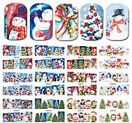 1 Стикер искусства ногтя С рисунком Аксессуары Уход Ар деко / Ретро Наклейка для переноса воды 3-D Рождество Новый год Мультфильмы