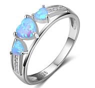 Недорогие -Жен. Классические кольца Синтетический опал Мода Серебряный Сердце Бижутерия Подарок