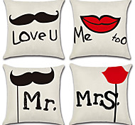 preiswerte -Satz von 4 liebhaber herr und frau muster kissen fall persönlichkeit schnurrbart kissenbezug wohnkultur 45 * 45 cm kissenbezug