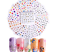 cheap -50pcs Decals / Set / 3D Nail Stickers Nail Stamping Template Daily Fashion