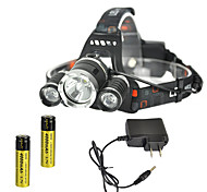 cheap -RJ-3000 Headlamps Chargers Headlight LED 4000 lm 4 Mode Cree XM-L T6 Rechargeable Strike Bezel for Camping/Hiking/Caving Traveling Black