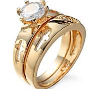 Недорогие -Жен. Классические кольца Кольцо на кончик пальца Цирконий Классика Подарок Милая Мода Elegant Циркон Медь Круглый Геометрической формы