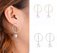 cheap -Women's Obsidian Imitation Pearl Pearl Imitation Pearl Hoop Earrings Dangle Earrings - Personalized Dangling Style Pendant Euramerican