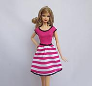Недорогие -Вечеринка Платья Для Кукла Барби Цвет фуксии Полиэстер Платье Для Девичий игрушки куклы