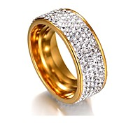 cheap -Women's Band Ring Cubic Zirconia One-piece Suit Silver Golden Stainless Steel Geometric Classic Basic Wedding Graduation Costume Jewelry