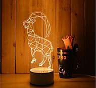 1 Set Of Decorative Acrylic 3d Night Light LED Bedroom Lamp Mood Lamp, Hand Scanning, Dimming, Color Change, 3W, Sheep