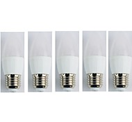 5pcs 3W E27 LED Candle Lights C35 5 leds SMD 3528 Warm White 225lm 3000K AC 110-240V