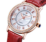 cheap -WWOOR Women's Quartz Wrist Watch Cool / Noctilucent Leather Band Casual / Elegant / Fashion Black / Red
