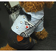 Собака Комбинезоны Одежда для собак На каждый день В полоску Синий Костюм Для домашних животных