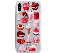Недорогие -Кейс для Назначение Apple iPhone X iPhone 8 Прозрачный С узором Рельефный Кейс на заднюю панель Продукты питания Мягкий ТПУ для iPhone X