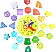 Недорогие -Деревянные часы Обучающая игрушка Игрушки Самолет Круглый Животные Для школы Для детской Образование Новый дизайн Куски