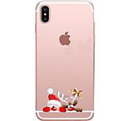 Недорогие -Кейс для Назначение Apple iPhone X iPhone 8 Прозрачный С узором Кейс на заднюю панель Рождество Мультипликация Мягкий ТПУ для iPhone X
