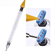двухсторонний гвоздь точечный перо кристалл бисер ручка горный хрусталь шпильки воска карандаш маникюр инструмент для ногтей