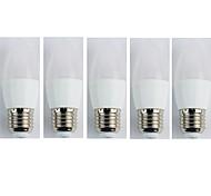 Недорогие -5 шт. 4W 320lm E27 LED лампы в форме свечи C35L 6 Светодиодные бусины SMD 3528 Холодный белый 180-240V
