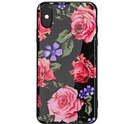 Недорогие -Кейс для Назначение Apple iPhone X iPhone 8 Plus Зеркальная поверхность С узором Задняя крышка Цветы Твердый Акриловое волокно для iPhone