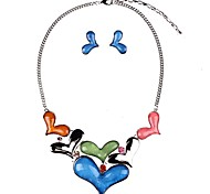 cheap -Women's Turquoise Turquoise Heart Jewelry Set 1 Necklace / Earrings - Classic / Fashion Dark Blue / Red Drop Earrings / Pendant Necklace
