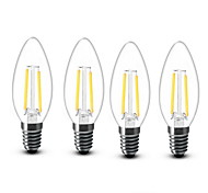 cheap -4pcs 2W 200 lm E14 LED Candle Lights C35 2 leds COB Decorative Warm White AC 220-240V