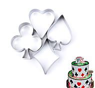 Недорогие -4 шт. Набор покера для печенья из нержавеющей стали, игральные карты, торты, помадные формы, бисквит