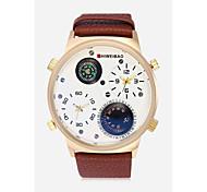 Недорогие -SHI WEI BAO Муж. Кварцевый Армейские часы Спортивные часы Китайский Термометр Крупный циферблат Панк С двумя часовыми поясами Компас Кожа