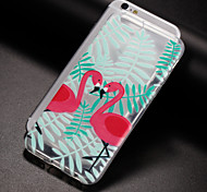 cheap -Case For Apple iPhone X iPhone 8 Plus iPhone 5 Case iPhone 6 iPhone 7 Translucent Pattern Back Cover Flamingo Soft TPU for iPhone X