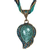 cheap -Women's Drop Ethnic Pendant Necklace Rhinestone Cord Opal Alloy Pendant Necklace , Daily