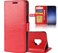 cheap -Case For Samsung Galaxy S9 S9 Plus Card Holder Wallet with Stand Flip Magnetic Solid Color Hard for
