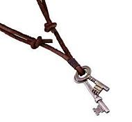 Недорогие -Муж. Ключи Кожа Ожерелья с подвесками  -  Простой Ключи Коричневый Ожерелье Назначение Повседневные