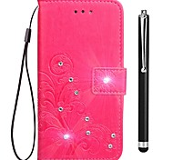 cheap -Case For OPPO Oppo F5 Oppo A57 Card Holder Wallet Rhinestone with Stand Flip Full Body Cases Solid Color Hard PU Leather for OPPO F5 OPPO