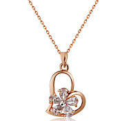 cheap -Women's Lovely Heart Crystal Rose Gold Crystal Pendant Necklace  -  Gold Necklace For Wedding Formal