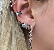 cheap -Men's / Women's Leaf / Moon / Flower Crystal 7pcs Clip Earrings / Ear Cuff - Vintage / Heart Silver Earrings For Gift / Evening Party