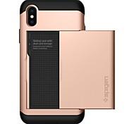 Недорогие -Кейс для Назначение Apple iPhone X iPhone 8 Бумажник для карт Кейс на заднюю панель Сплошной цвет Твердый ПК для iPhone X iPhone 8 Pluss