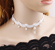 cheap -Women's Floral Flower Imitation Pearl Lace Choker Necklace  -  Floral Fashion European White Black Necklace For Wedding Party / Evening