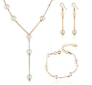 cheap -Women's Imitation Pearl Jewelry Set 1 Necklace / 1 Bracelet / Earrings - Elegant / Fashion / European Circle Gold / Silver Jewelry Set For