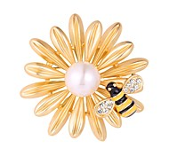 cheap -Women's Lovely Bee / Flower Imitation Pearl Gold Plated Brooches - Fashion Silver / Golden Brooch For Evening Party / Prom