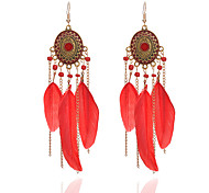 cheap -Women's Tassel Synthetic Tanzanite Drop Earrings - Tassel / Fashion White / Black / Red Circle / Line / Feather Earrings For Going out /