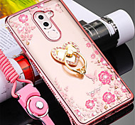 cheap -Case For Huawei Honor 7X Shockproof Rhinestone Ring Holder Back Cover Flower Soft Silicone for Honor 6X