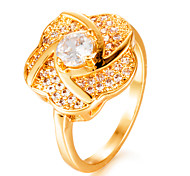 cheap -Women's Band Ring Cubic Zirconia Gold Gold Plated Geometric Fashion Gift Wedding Gift Costume Jewelry