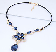 cheap -Women's Floral Rhinestone Pendant Necklace - Floral Fashion European Flower Necklace For Party