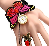 cheap -JUBAOLI Women's Quartz Casual Watch Chinese Punk Casual Watch Fabric Band Flower Red