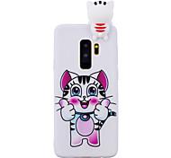 Недорогие -Кейс для Назначение SSamsung Galaxy S9 S9 Plus Защита от удара С узором Своими руками Кейс на заднюю панель Кот 3D в мультяшном стиле