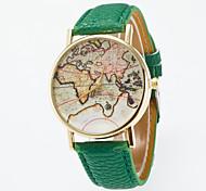 preiswerte -Herrn Damen Quartz Modeuhr Chinesisch Armbanduhren für den Alltag Leder Band Retro Weltkarte Muster Schwarz Blau Rot Orange Grün Rosa