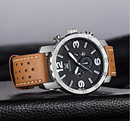cheap -Men's Quartz Fashion Watch Chinese Calendar / date / day Large Dial Casual Watch Genuine Leather Band Luxury Fashion Black Brown