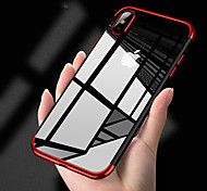 cheap -Case For Apple iPhone X iPhone 8 Plating Translucent Back Cover Solid Colored Soft TPU for iPhone X iPhone 8 Plus iPhone 8 iPhone 7 Plus