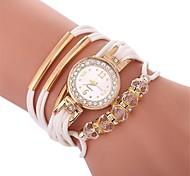cheap -Women's Quartz Simulated Diamond Watch Bracelet Watch Casual Watch Chinese Imitation Diamond Casual Watch PU Band Bohemian Fashion Black