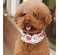 Недорогие -Собаки Коты Ошейники Регулируемый размер Складной Дышащий Украшение Сетка Цветы Кожа PU Белый Розовый