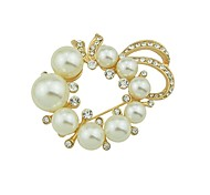 cheap -Women's Flower Rhinestone / Imitation Pearl / Pearl Brooches - Basic / Fashion Gold Brooch For Daily / Date